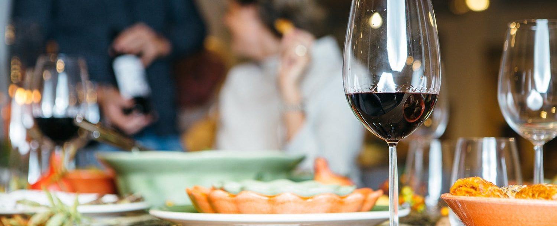 Wine glass on celebration table.